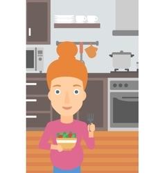 Pregnant woman eating salad vector