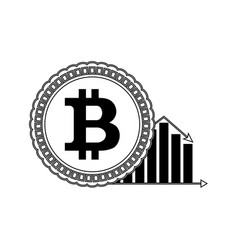 price bitcoin down line style vector image