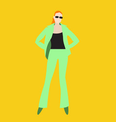 redhead girl in an elegant light green suit vector image