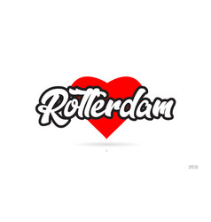 Rotterdam city design typography with red heart vector