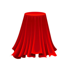 Round table under red silk cloth mystery concept vector