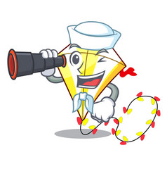 sailor with binocular cute kite flying the on vector image