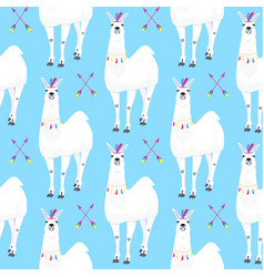 seamless kids pattern with funny llama cute vector image
