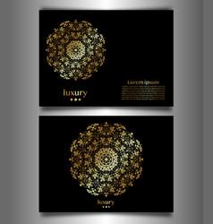 set banner golden luxury mandala logo template vector image