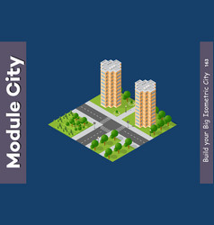 set modern isometric buildings vector image