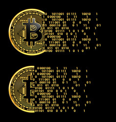 set of crypto currency bitcoin golden symbols vector image
