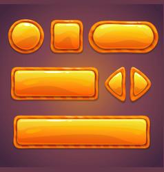 Set of orange cartoon glossy buttons vector