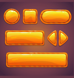 set orange cartoon glossy buttons vector image