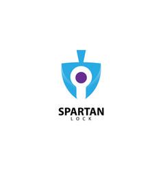 Spartan lock logo design icon vector