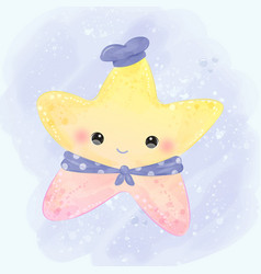 starfish in watercolor vector image