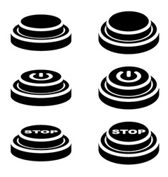 Start stop knob button black symbols vector