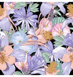 Summer seamless pattern with wildflowers vector image
