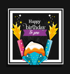 sweet cupcake of birthday and candles vector image