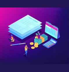 tax form isometric 3d concept vector image