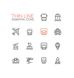 Transport - modern single thin line icons vector