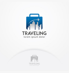 Traveling logo with flight plane vector