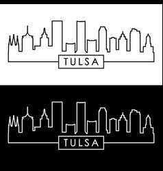 tulsa city skyline linear style editable file vector image