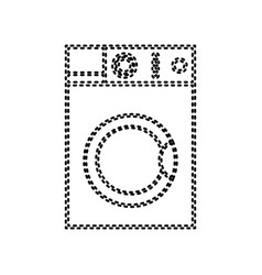 Washing machine sign black dashed icon on vector
