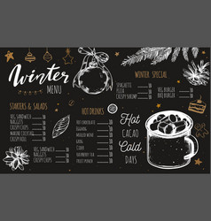winter special seasonal menu template vector image