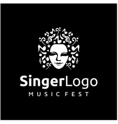 woman head face with music notes icon logo design vector image