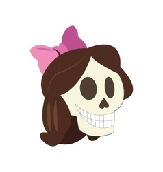 Woman skull cartoon icon vector
