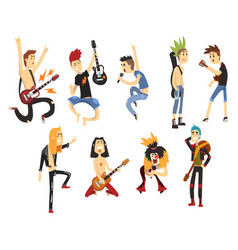 cartoon rock artists characters singing and vector image vector image
