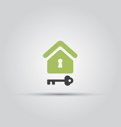 home and key isolated colored icon vector image
