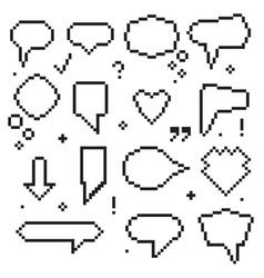 pixel art 8 bit speech bubbles black icons set vector image vector image