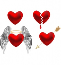set of hearts design vector image