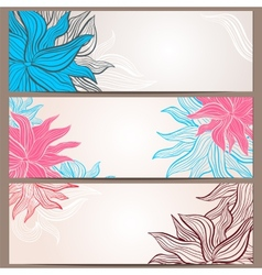 Set of three floral banners vector image vector image