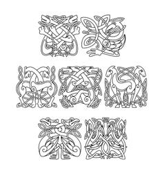 Stork crane and heron birds celtic ornaments vector image vector image