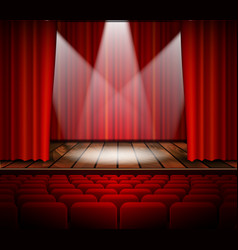 A theater stage with a red curtain vector image
