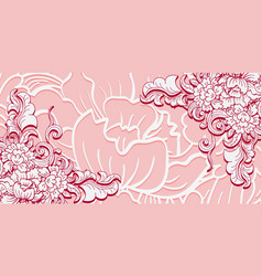 card with floral elements on the corners white vector image