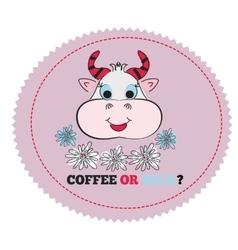 Cartoon happy caw isolated Logo print cover vector image