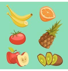 Healthy Food Cartoon Set vector image