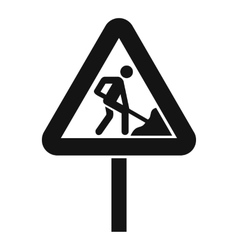 Road works sign icon simple style vector image