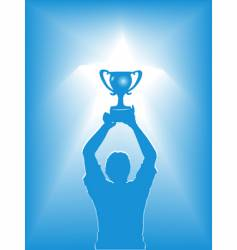 victory star trophy silhouette vector image vector image