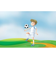 A soccer player practicing vector image vector image