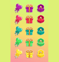 cartoon colorful romantic stickers set vector image