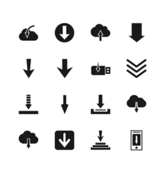 Download file icons down digital arrow buttons vector image vector image