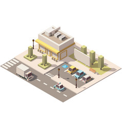 isometric low poly urban supermarket vector image