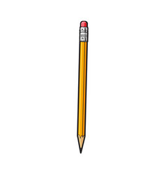 simple hand drawn yellow graphite pencil with vector image