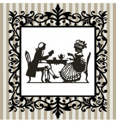 tea time with frame vector image vector image