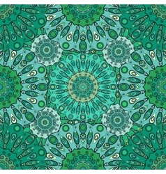 Vintage oriental seamless pattern in green colors vector