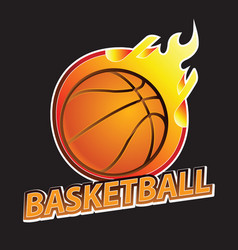 basketball on fire tournament logo vector image