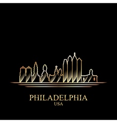 Gold silhouette of Philadelphia on black vector image vector image