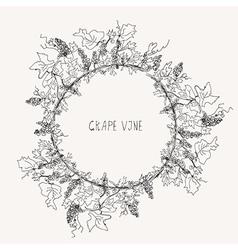 Grape vine sketch frame round vector