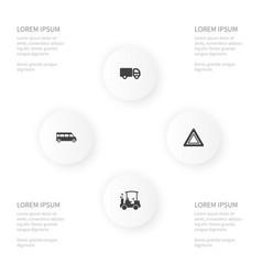 Icon transportation set of game autobus danger vector
