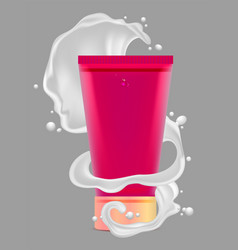 Red tube for cosmetics and white wave spray vector