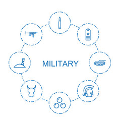 8 military icons vector